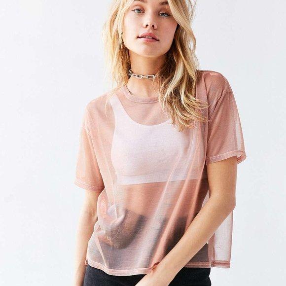 Urban Outfitters - Sheer Pink Metallic T-Shirt